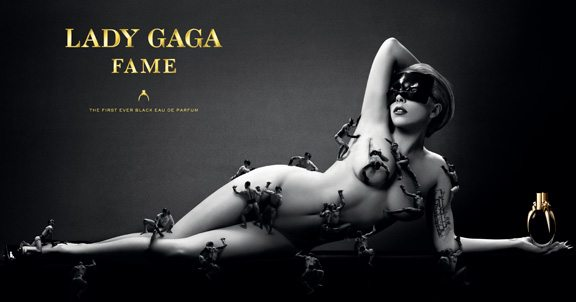 lady gaga, perfume, fragrance, Fame, black perfume, trampoline structure, advertisement