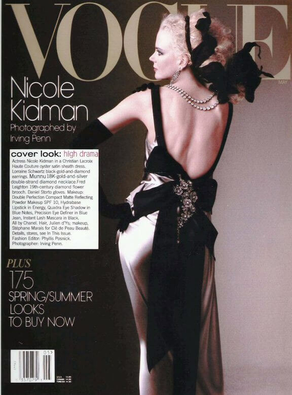 Nicole Kidman wearing a diamond necklace designed by Munnu on the Vogue USA cover