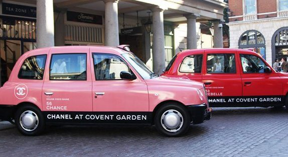 chanel, taxi, cab, london, covent garden