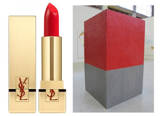 Fabrice Hyber, M3 de beaute, One Cubic Meter of Beauty, lipstick, sculpture, Matieres Premieres, Palais de Tokyo, 330 pounds, YSL, Yves Saint Laurent, Rouge Pur Couture, how many lipsticks