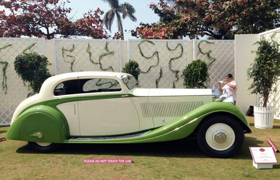 1938 Rolls Royce Phantom II Continental. Remember seeing this one in cream with black fenders. But even the green looks gorgeous... clearly one of the favourites in the show!