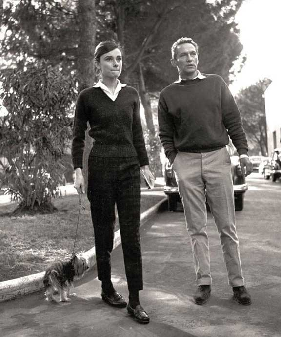 Audrey Hepburn in the gardens at Cinecittà film studios in 1958, with actor Peter Finch, her co-star in The Nun's Story