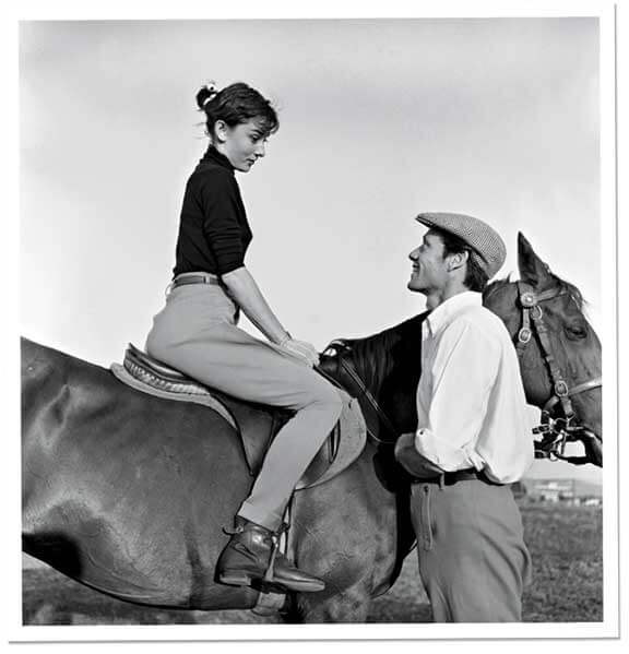 Audrey Hepburn with Mel Ferrer during the filming of War and Peace, 1955