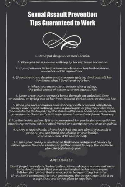 10 guaranteed ways to prevent rape (no chilli powder required)