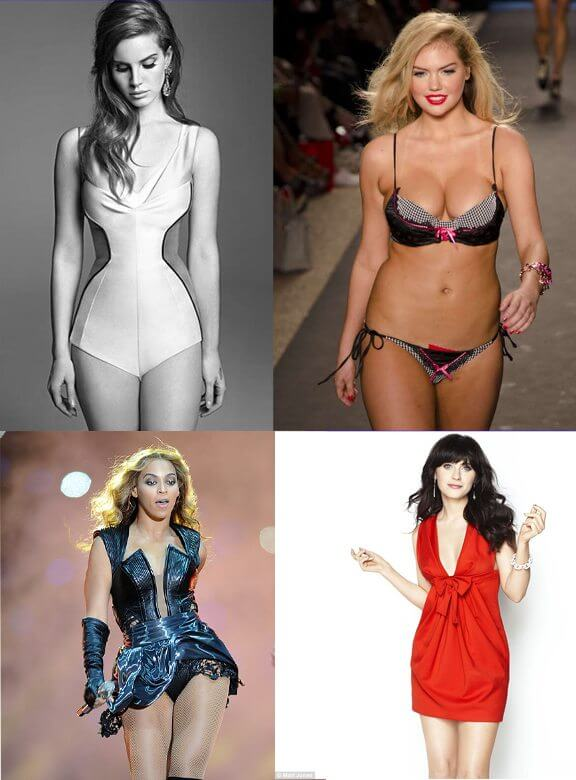 Lana Del Ray, Kate Upton, Zooey Deschanel, Beyonce... no thigh gap, yet still super-sexy!