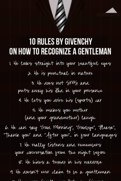 10 rules by Givenchy on how to recognise a gentleman