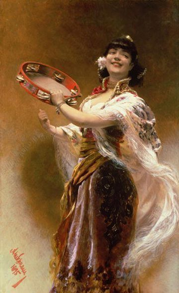 Gypsy Girl with a Tambourine by Alois Hans Schram
