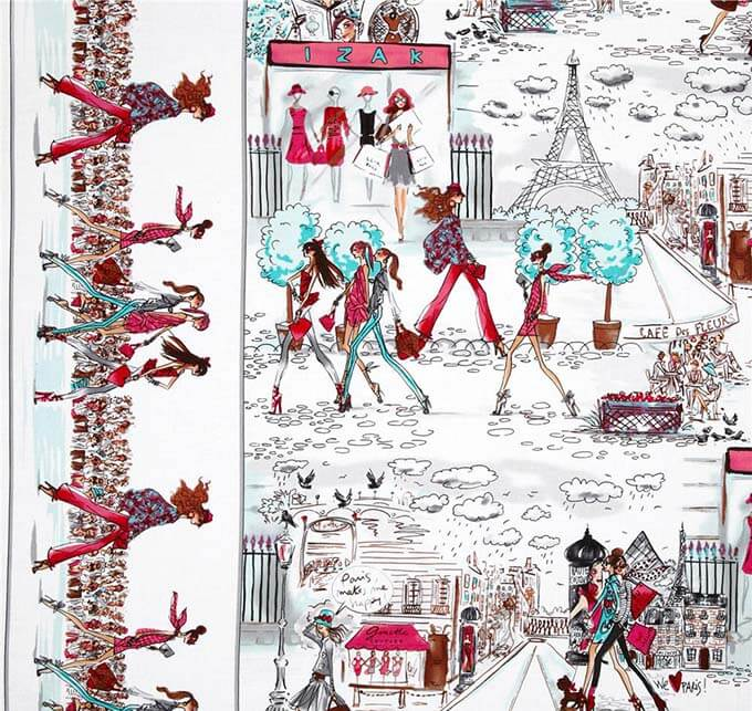 Who's That Girl On the Town fabric designed by Izak Zenou for Robert Kaufman
