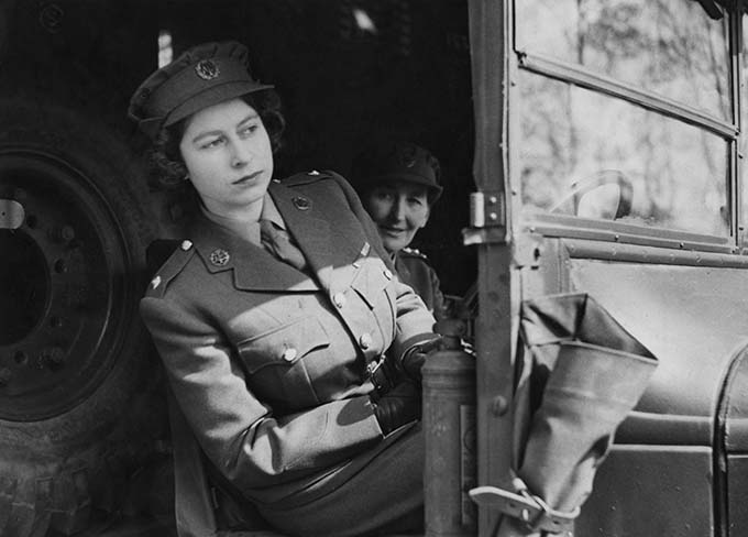 Princess Elizabeth (now Queen Elizabeth II) driving an ambulance during her wartime service in the A.T.S. (Auxiliary Territorial Service), 10th April 1945. (Photo by Popperfoto/Getty Images)
